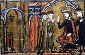 "Baldwin II cedes Temple of Salomon to Hugues de Payens and Gaudefroy de Saint-Homer in 1119 / Guillaume de Tyr, 13th century ""Histoire d'Outre-Mer"""