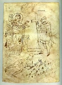 St Helena finds the True Cross / N. Italy, 825 AD Biblioteca Capitolare, Vercelli