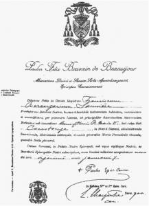 Saunière's nomination as priest of Coustouges