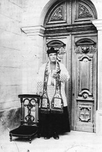 Saunière in front of his church at Rennes-le-Château