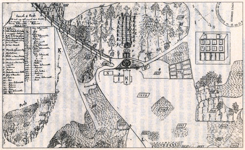 Hand drawn map of the Monastery of Carol